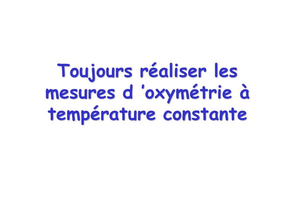 Toujours réaliser les mesures d 'oxymétrie à température constante