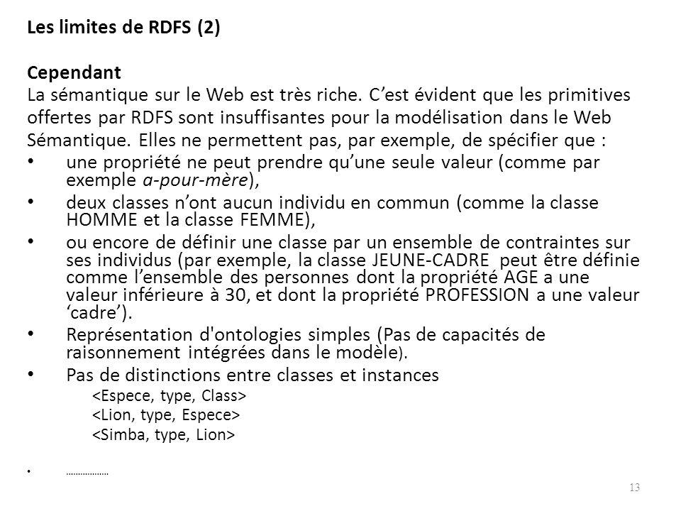 offertes par RDFS sont insuffisantes pour la modélisation dans le Web