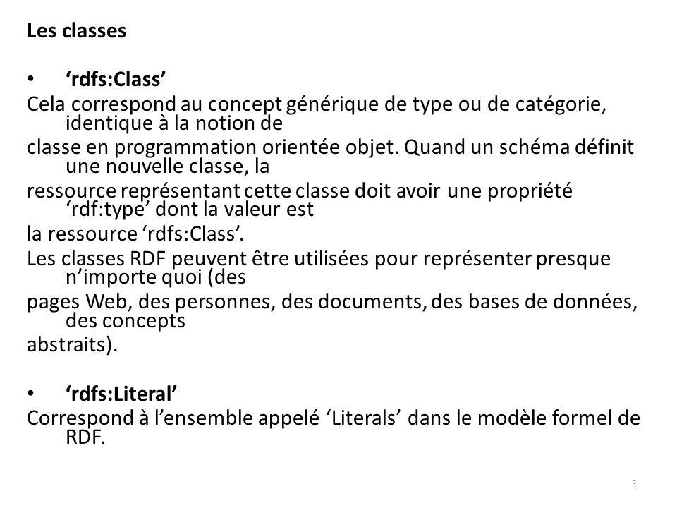 Les classes 'rdfs:Class' Cela correspond au concept générique de type ou de catégorie, identique à la notion de.