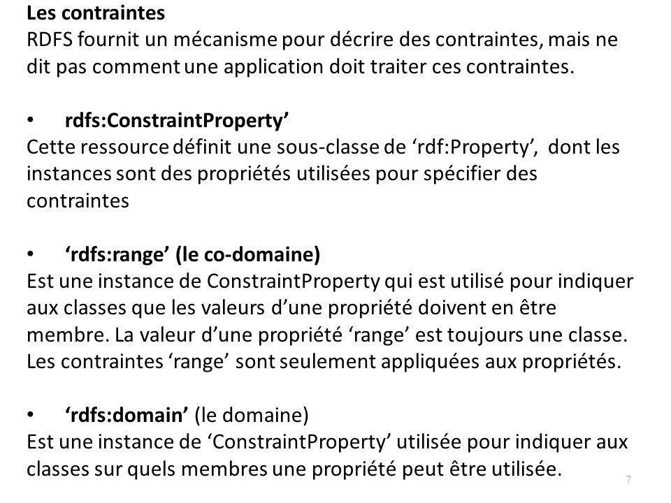Les contraintes RDFS fournit un mécanisme pour décrire des contraintes, mais ne. dit pas comment une application doit traiter ces contraintes.