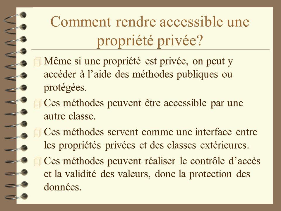 Comment rendre accessible une propriété privée