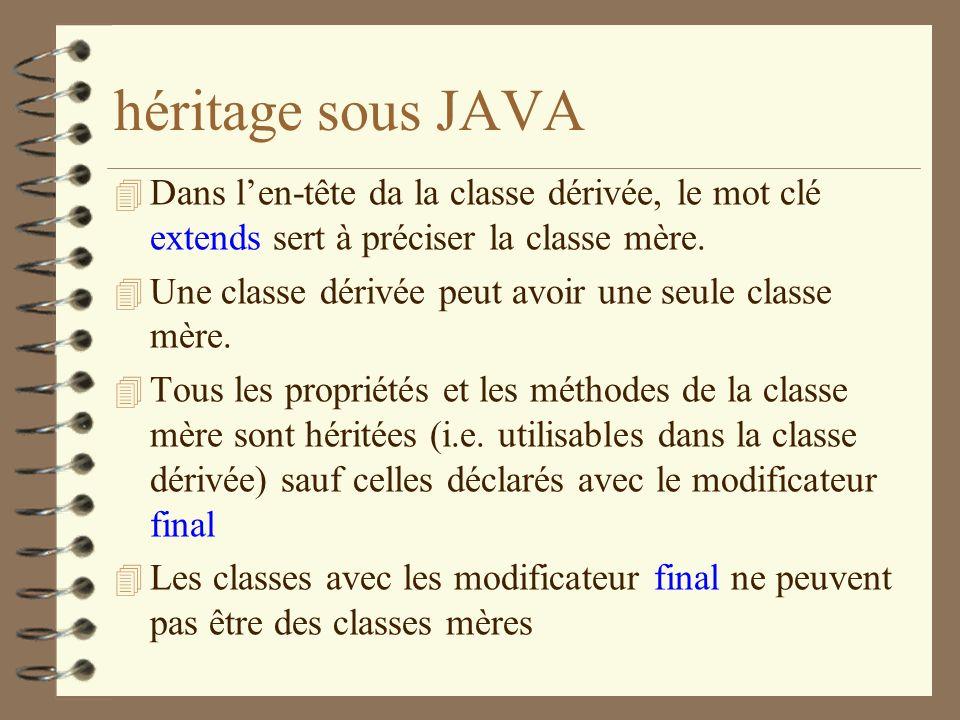héritage sous JAVA Dans l'en-tête da la classe dérivée, le mot clé extends sert à préciser la classe mère.