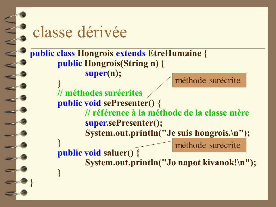 classe dérivée public class Hongrois extends EtreHumaine {