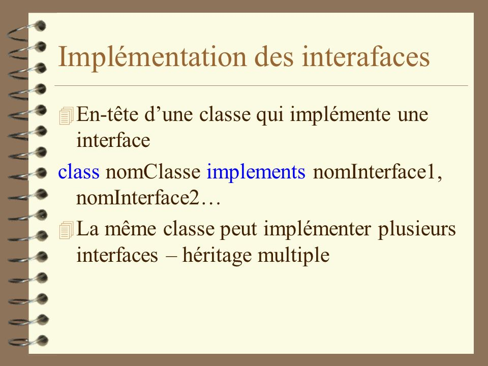 Implémentation des interafaces