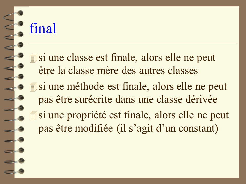final si une classe est finale, alors elle ne peut être la classe mère des autres classes.