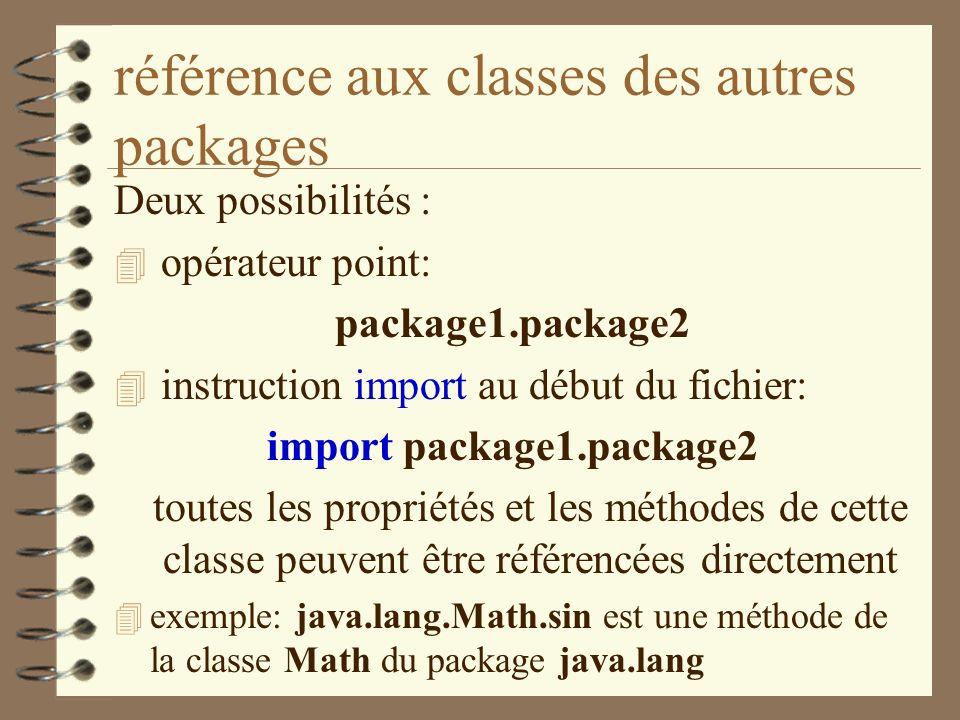 référence aux classes des autres packages