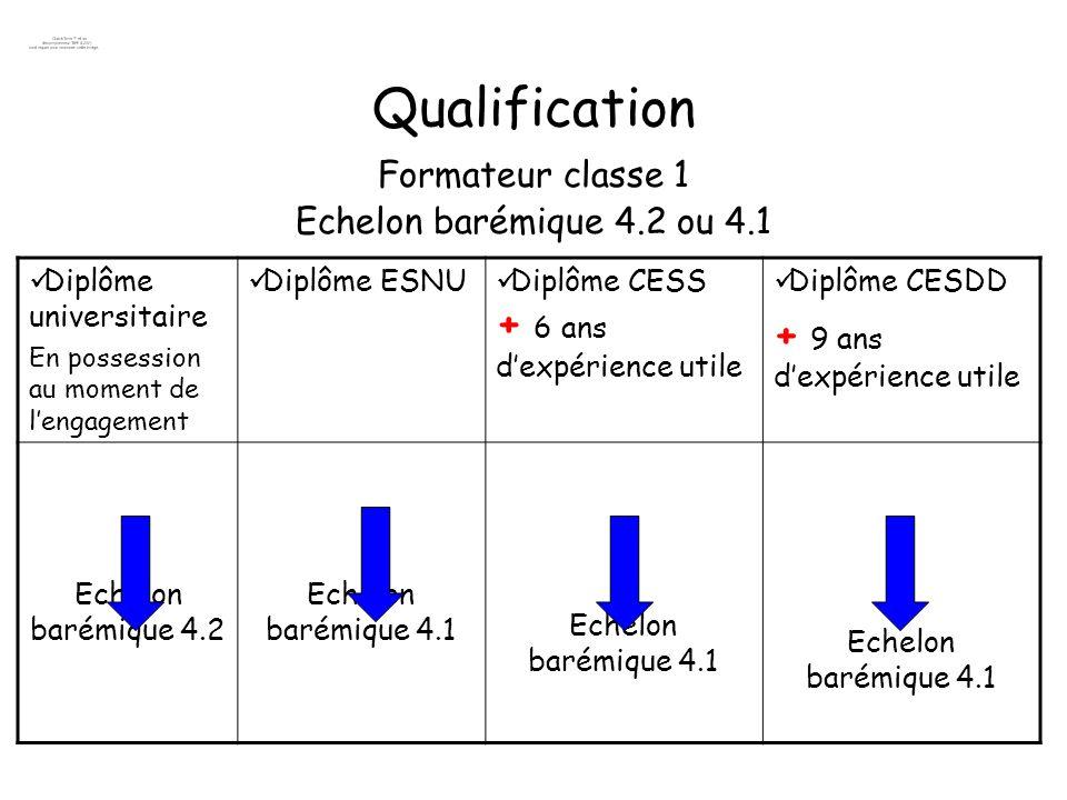 Qualification + 9 ans d'expérience utile Formateur classe 1