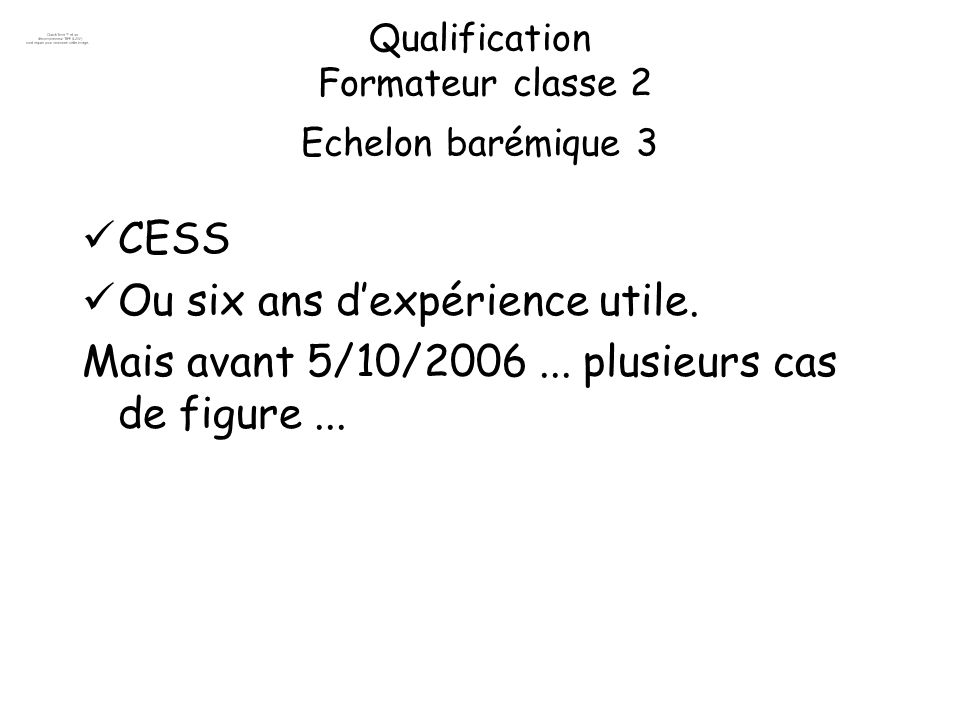 Qualification Formateur classe 2 Echelon barémique 3