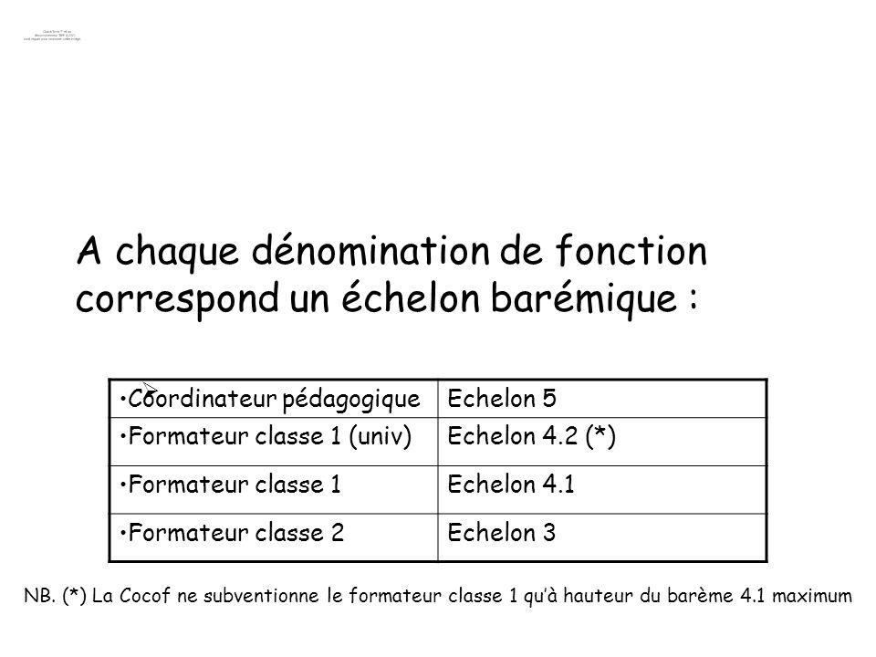 A chaque dénomination de fonction correspond un échelon barémique :