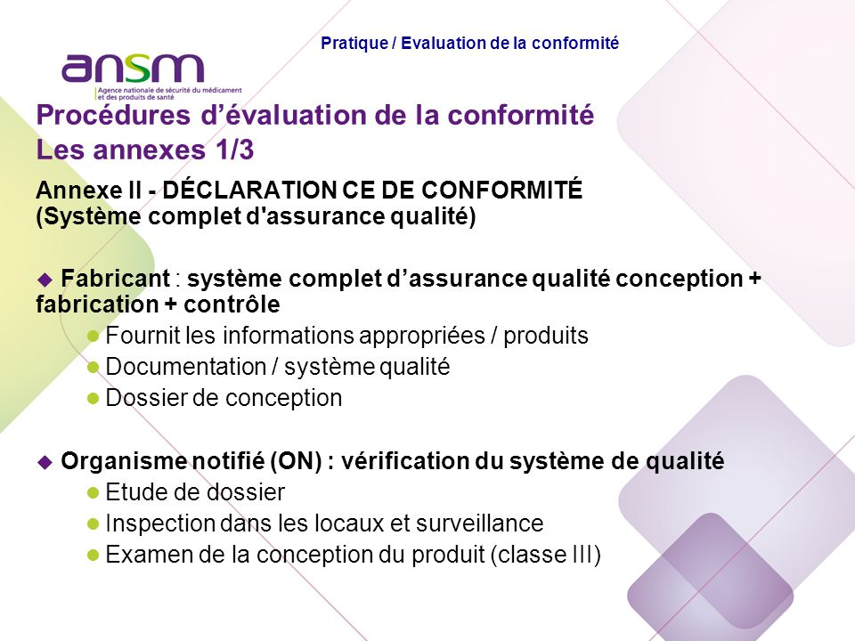 Pratique / Evaluation de la conformité