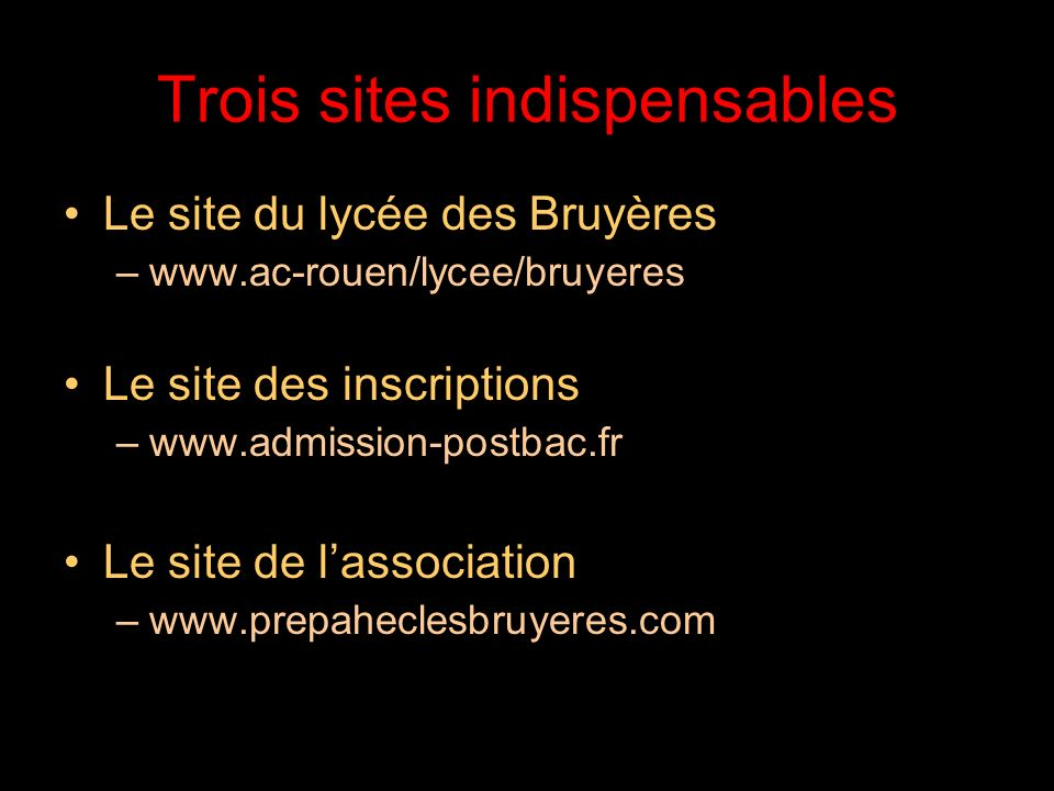 Trois sites indispensables