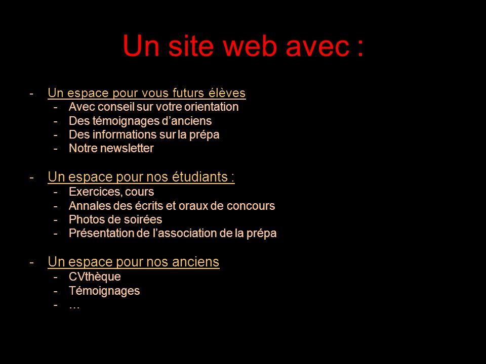 Un site web avec : Un espace pour nos étudiants :