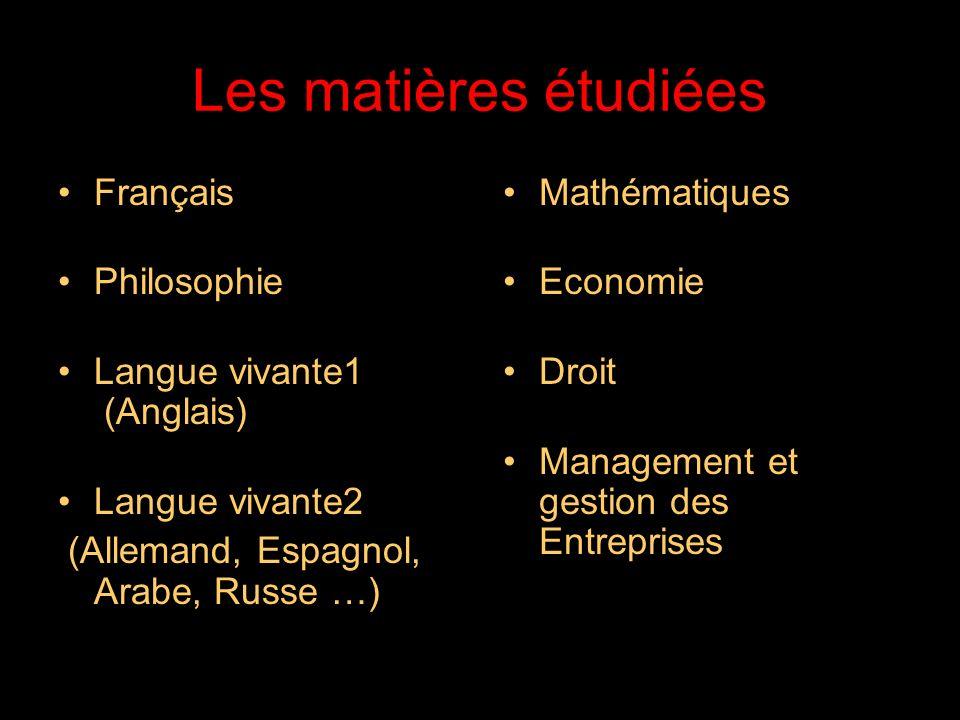 Les matières étudiées Français Philosophie Langue vivante1 (Anglais)
