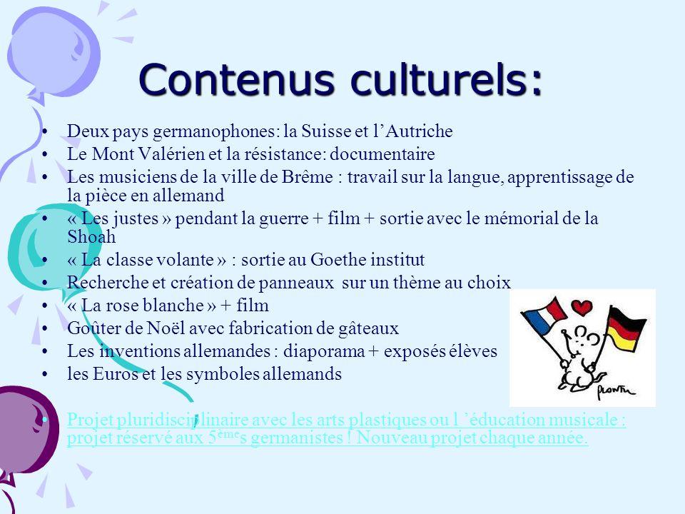 Contenus culturels: Deux pays germanophones: la Suisse et l'Autriche