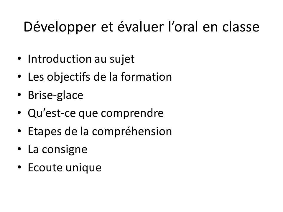 Développer et évaluer l'oral en classe