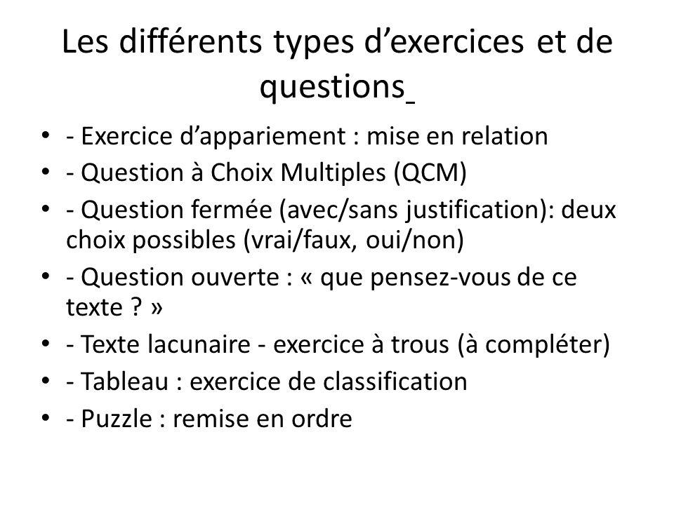 Les différents types d'exercices et de questions