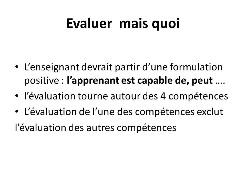 Evaluer mais quoi L'enseignant devrait partir d'une formulation positive : l'apprenant est capable de, peut ….