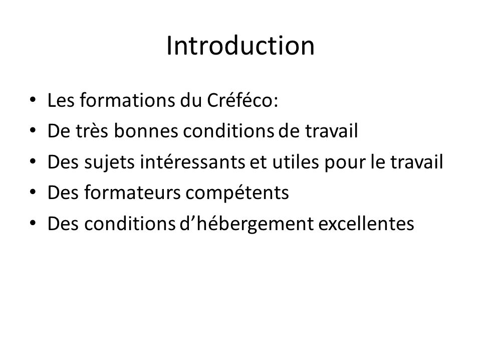 Introduction Les formations du Créféco: