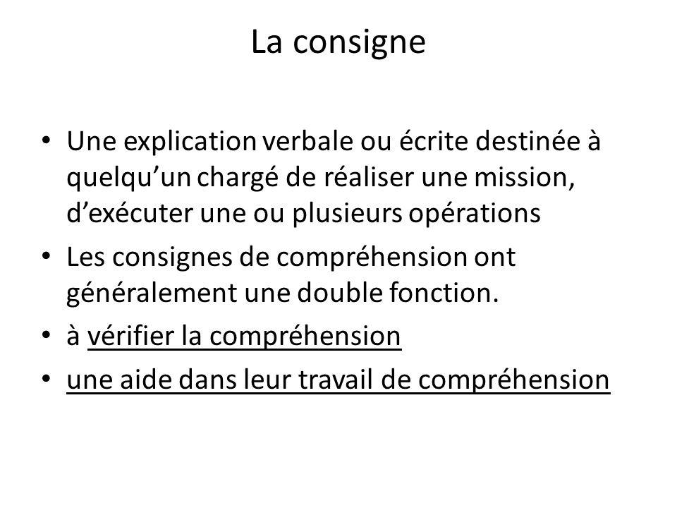 La consigne Une explication verbale ou écrite destinée à quelqu'un chargé de réaliser une mission, d'exécuter une ou plusieurs opérations.