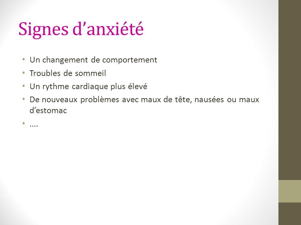 Signes d'anxiété Un changement de comportement Troubles de sommeil