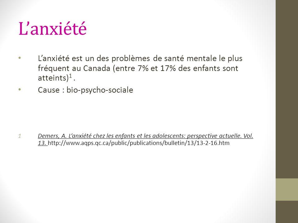L'anxiété L'anxiété est un des problèmes de santé mentale le plus fréquent au Canada (entre 7% et 17% des enfants sont atteints)1 .