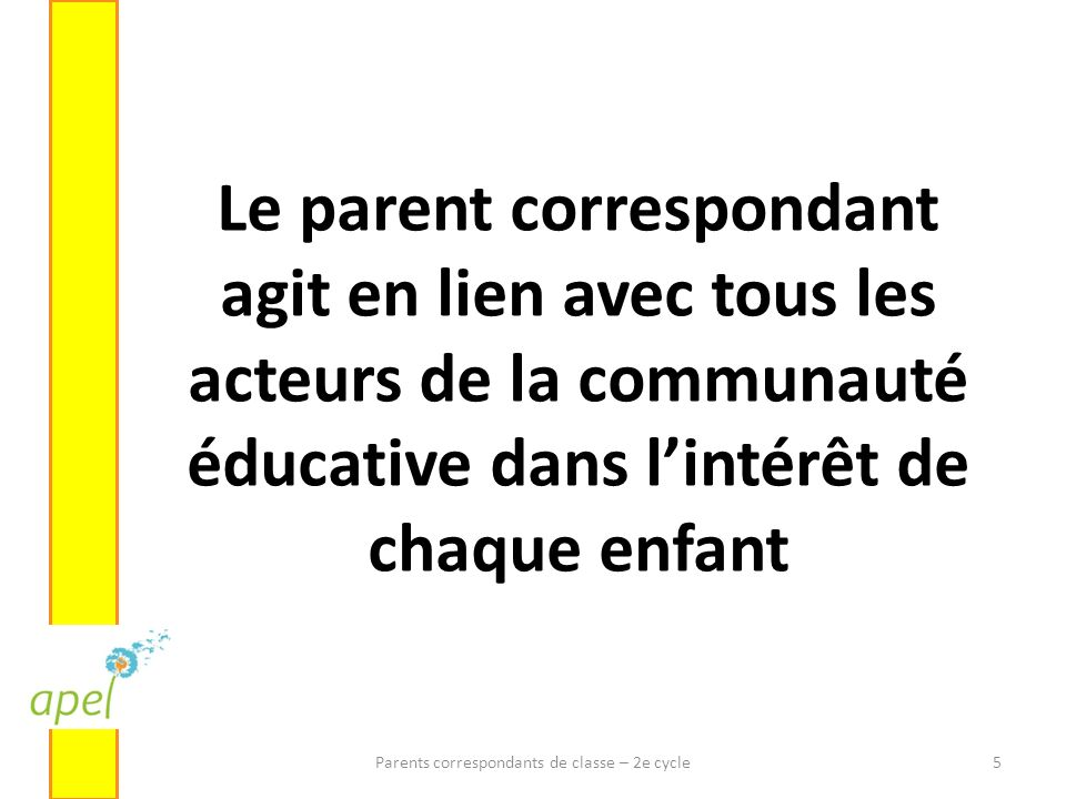 Parents correspondants de classe – 2e cycle