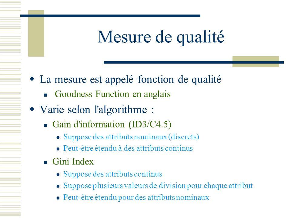 Mesure de qualité La mesure est appelé fonction de qualité