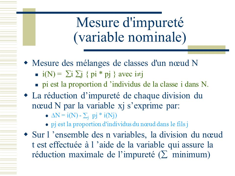 Mesure d impureté (variable nominale)