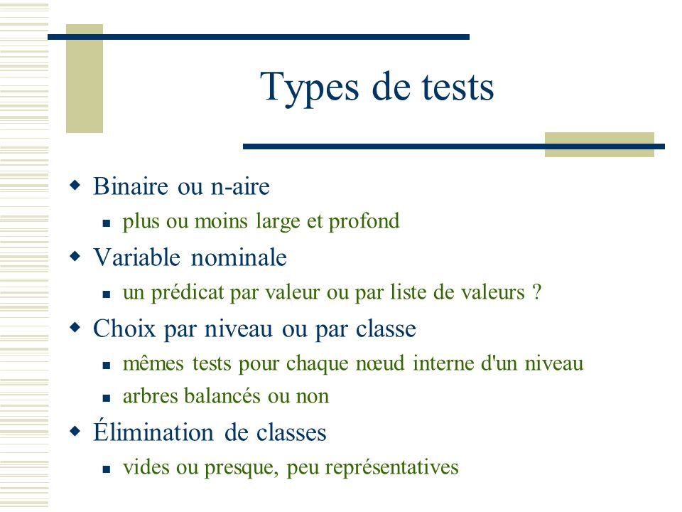Types de tests Binaire ou n-aire Variable nominale
