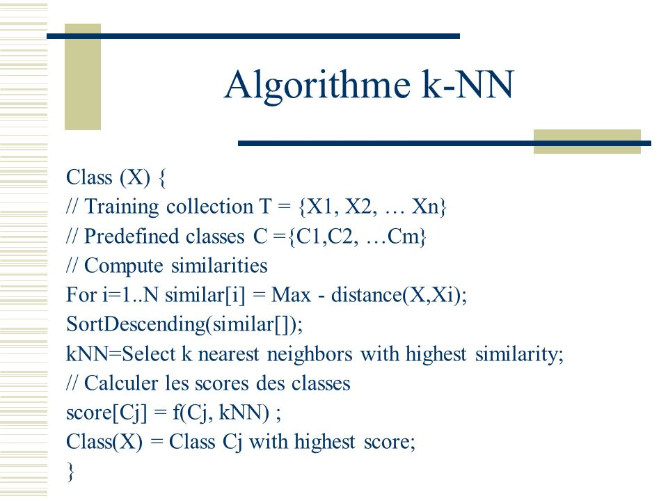 Algorithme k-NN Class (X) { // Training collection T = {X1, X2, … Xn}