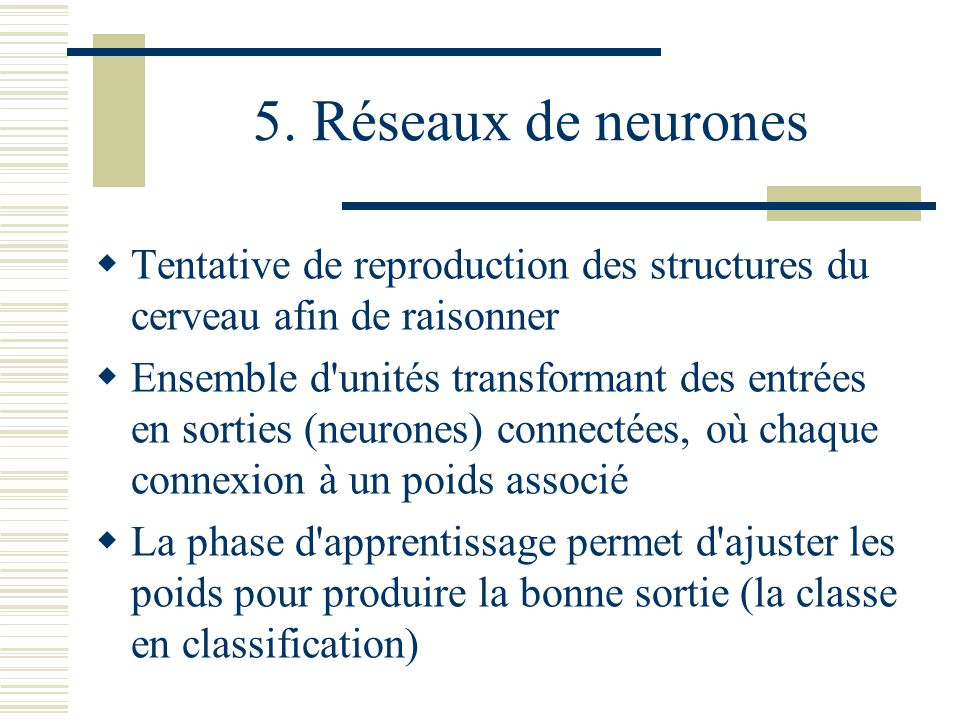 5. Réseaux de neurones Tentative de reproduction des structures du cerveau afin de raisonner.