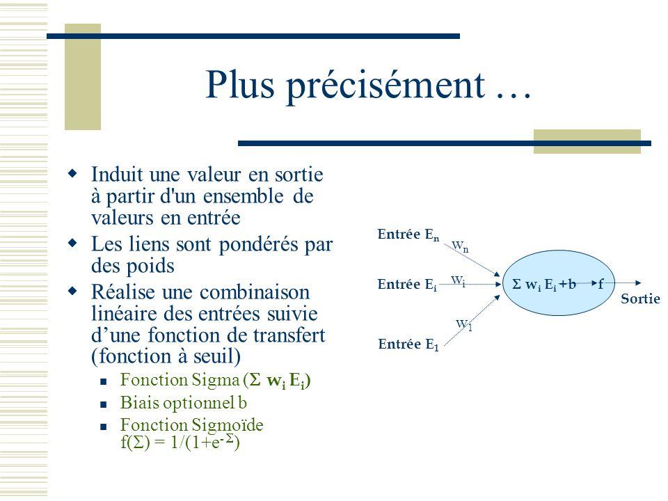 Plus précisément … Induit une valeur en sortie à partir d un ensemble de valeurs en entrée. Les liens sont pondérés par des poids.