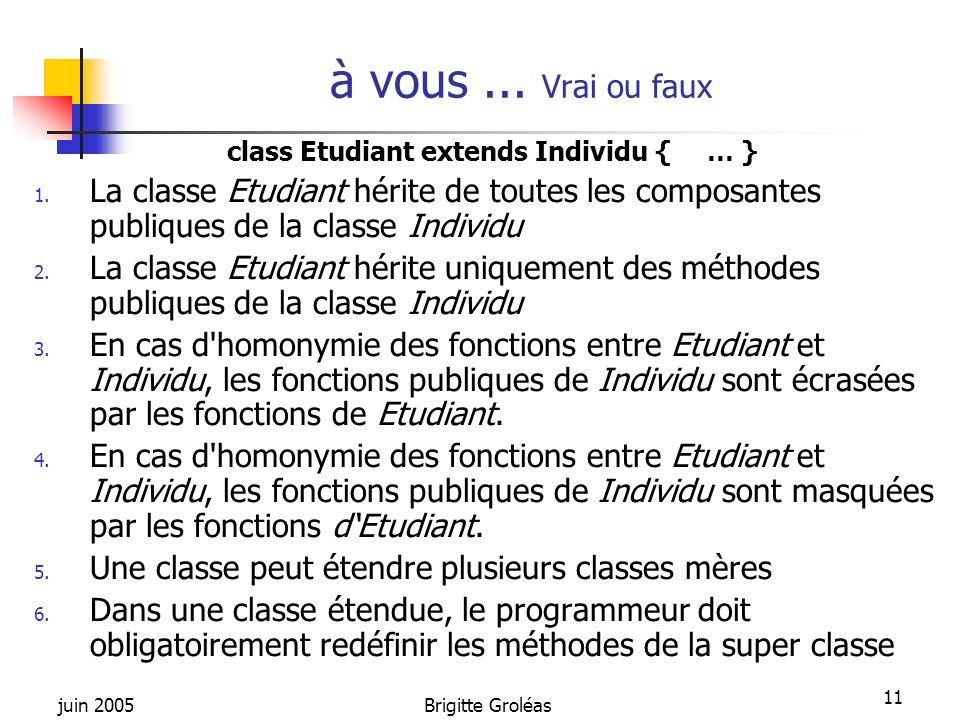 class Etudiant extends Individu { … }