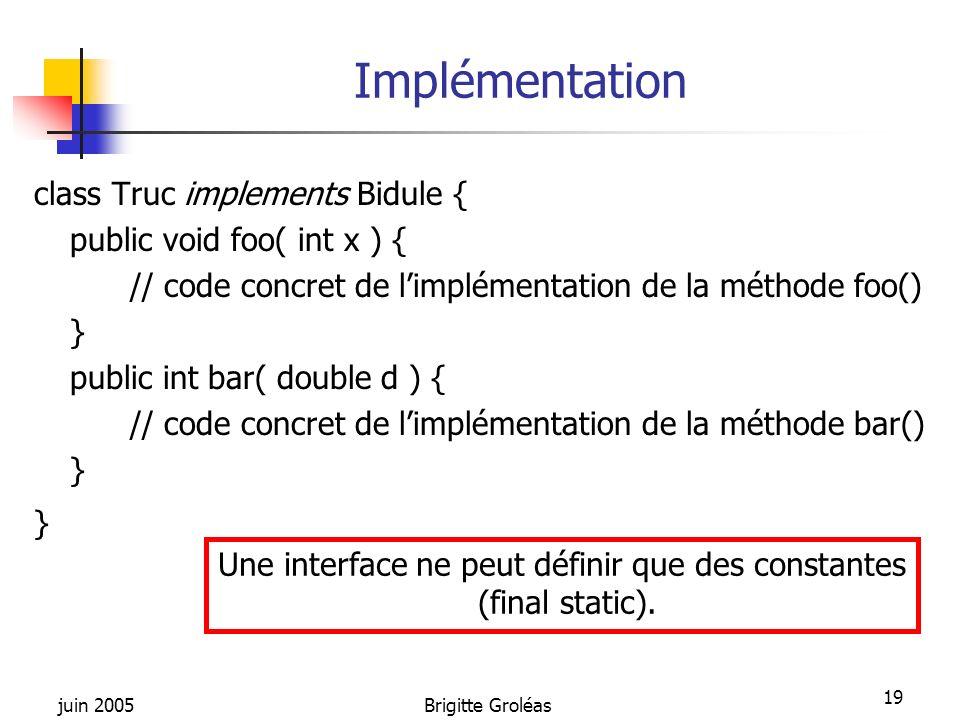 Une interface ne peut définir que des constantes