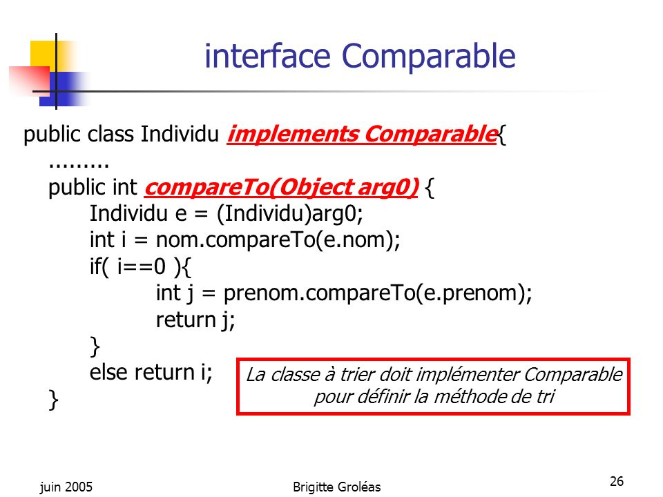 interface Comparable public class Individu implements Comparable{