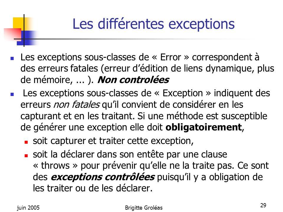 Les différentes exceptions