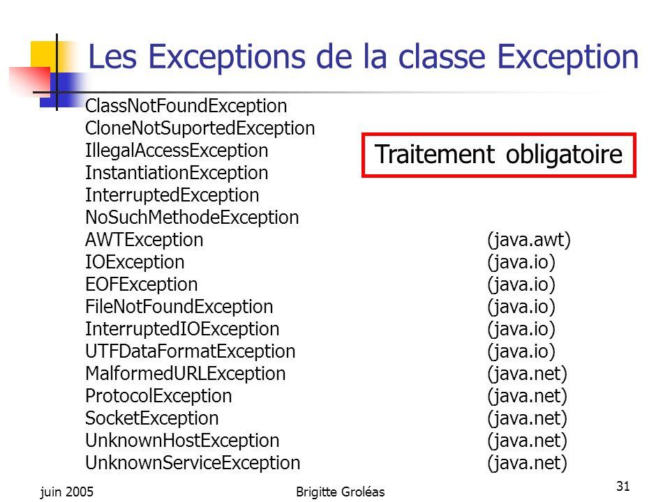 Les Exceptions de la classe Exception