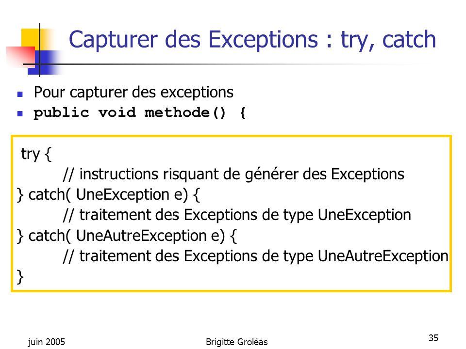 Capturer des Exceptions : try, catch
