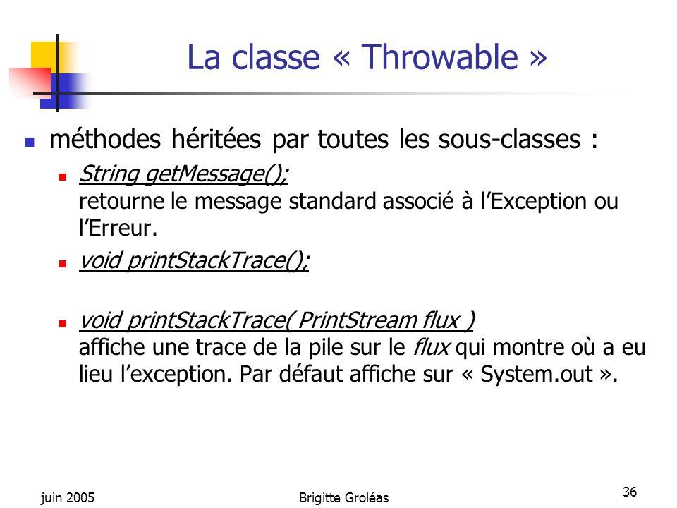 La classe « Throwable » méthodes héritées par toutes les sous-classes :