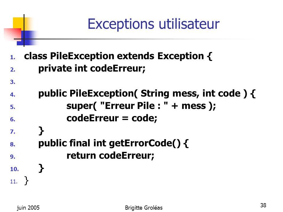 Exceptions utilisateur