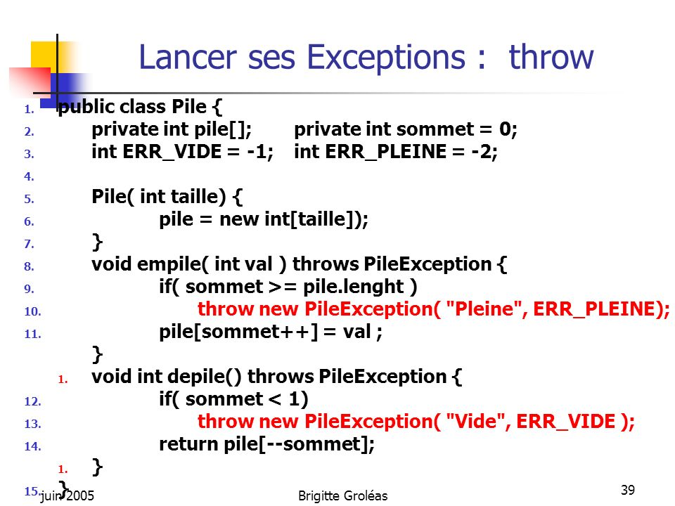 Lancer ses Exceptions : throw