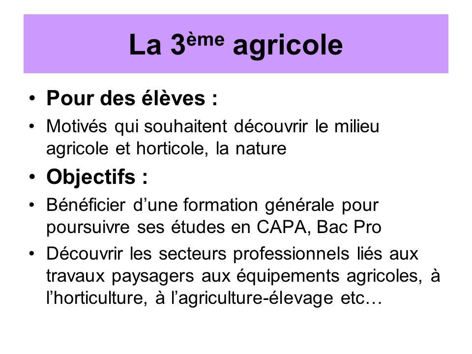 La 3ème agricole Pour des élèves : Objectifs :
