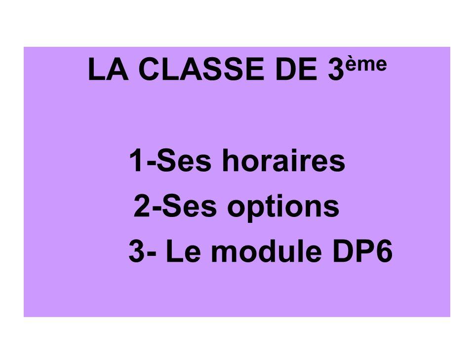 LA CLASSE DE 3ème 1-Ses horaires 2-Ses options 3- Le module DP6