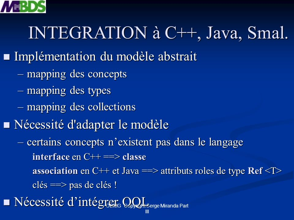 INTEGRATION à C++, Java, Smal.