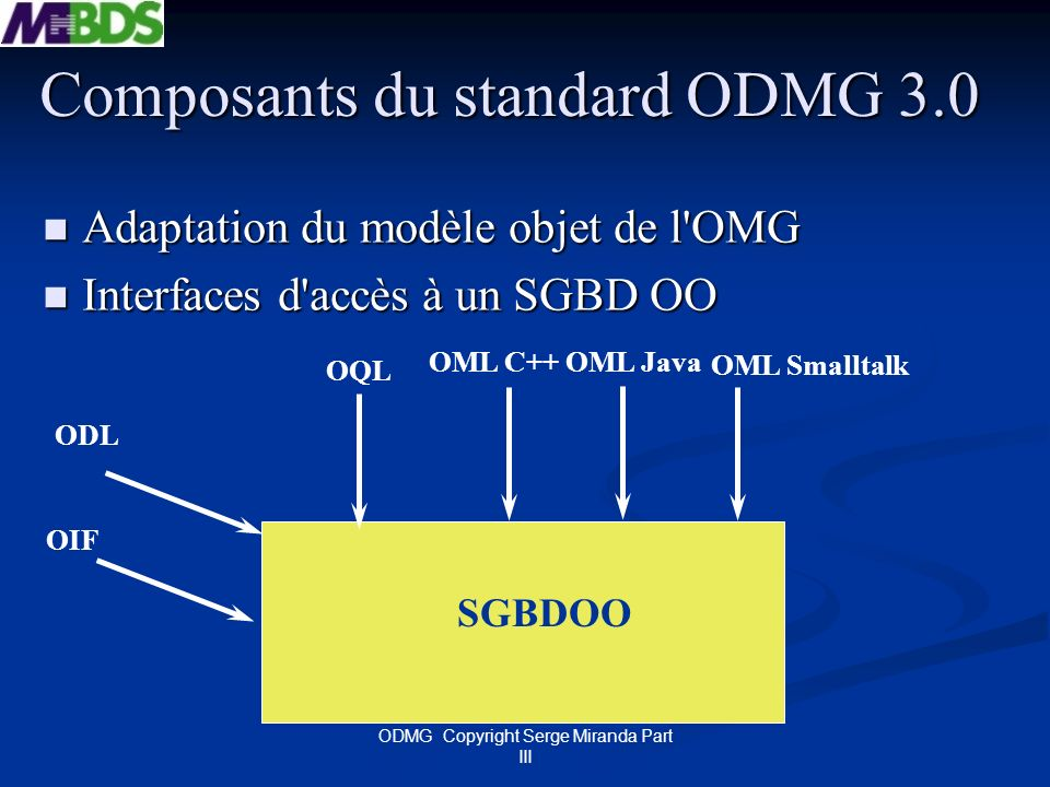 Composants du standard ODMG 3.0
