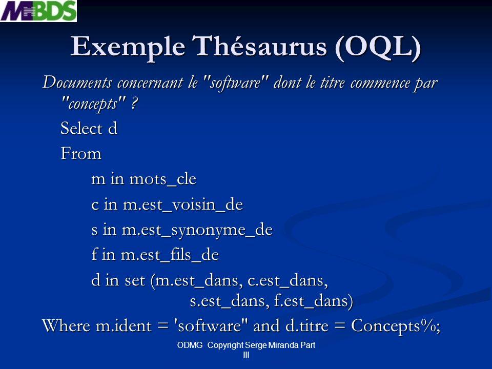 Exemple Thésaurus (OQL)
