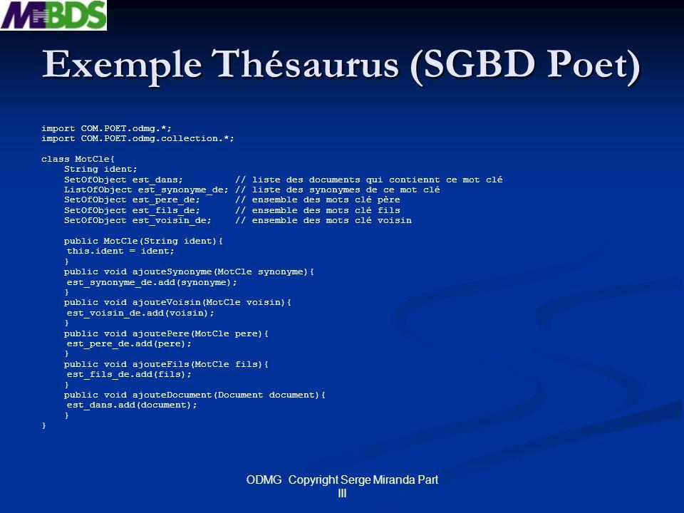 Exemple Thésaurus (SGBD Poet)