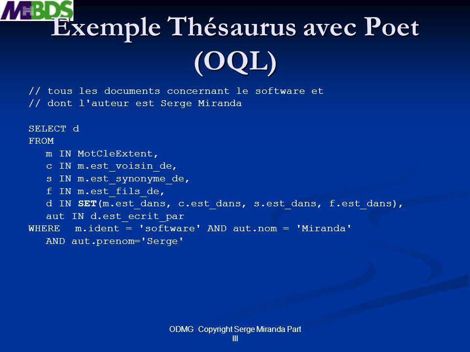 Exemple Thésaurus avec Poet (OQL)