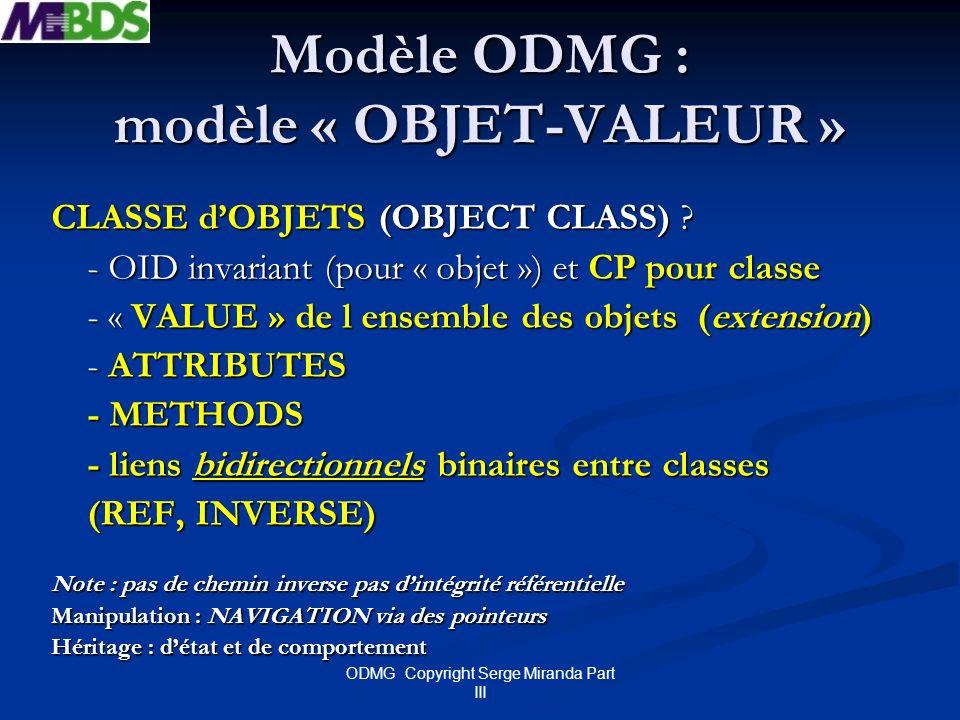 Modèle ODMG : modèle « OBJET-VALEUR »