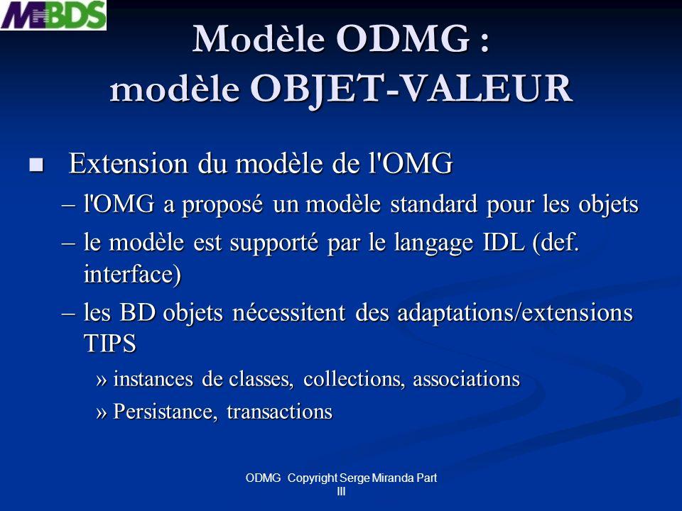 Modèle ODMG : modèle OBJET-VALEUR